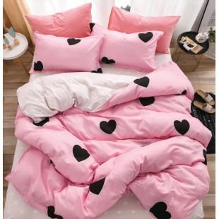 Ružová obojstranná posteľná obliečka z mikrovlákna so srdiečkami