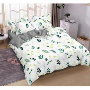 Bielo-sivá obojstranná posteľná obliečka z mikrovlákna s rastlinným motívom
