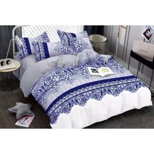 Bielo-modrá obojstranná posteľná obliečka s krásnym motívom