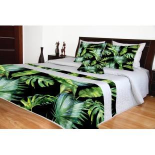 Sivý prešívaný prehoz na posteľ so zelenými  vetvičkami