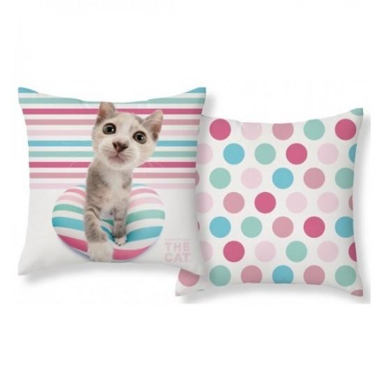Bielo modro ružová obliečka na vankúš s motívom mačičky