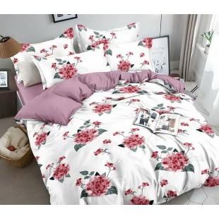 Bielo-fialová obojstranná posteľná obliečka z mikrovlákna s kvetmi