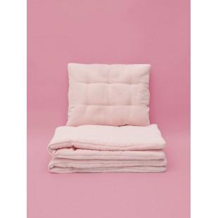 Detské pudrovo ružové mušelínové obliečky s výplňou