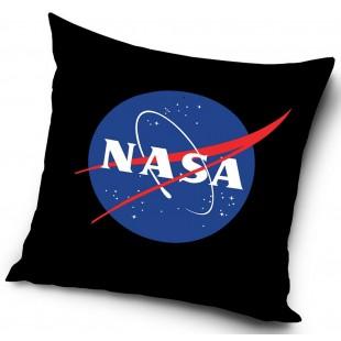Čierna dekoračný obliečka na vankúš s nápisom NASA