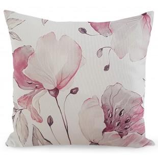 Béžová kvetinová obliečka na dekoračný vankúš