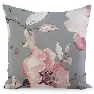 Sivá kvetinová obliečka na dekoračný vankúš