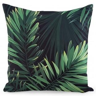 Zelená obliečka na dekoračný vankúš s rastlinným motívom