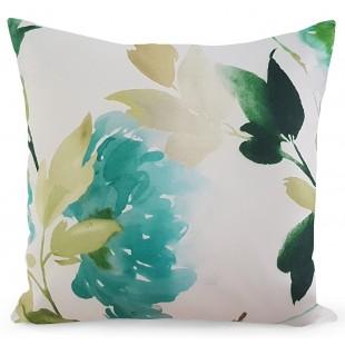 Bielo-zelená obliečka na dekoračný vankúš s kvetinovým motívom