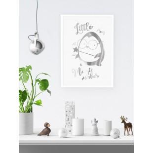 Strieborný lesklý plagát Penguin Potter