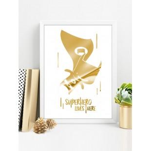 Zlato biely lesklý plagát Batman