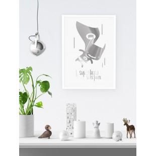 Strieborno biely lesklý plagát Batman