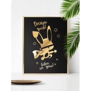 Zlato čierny lesklý plagát Ninja zajačik