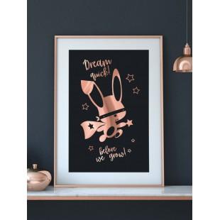 Ružovo zlato čierny lesklý plagát Ninja zajačik