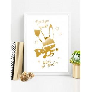 Zlatý lesklý plagát Ninja zajačik