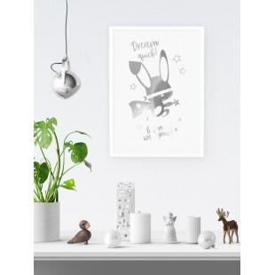 Strieborný lesklý plagát Ninja zajačik