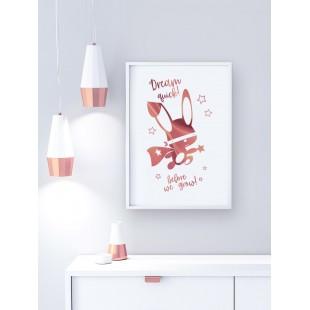 Ružovo zlatý lesklý plagát Ninja zajačik