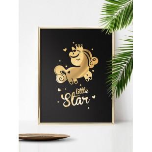 Zlato čierny lesklý plagát Unicorn