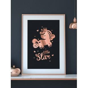 Ružovo zlato čierny lesklý plagát Unicorn