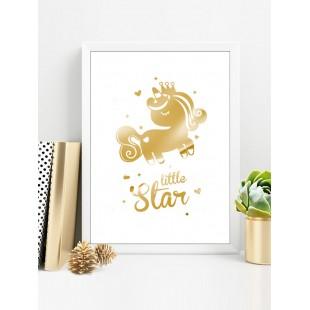 Zlatý lesklý plagát Unicorn