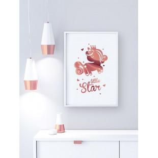 Ružovo zlatý lesklý plagát Unicorn