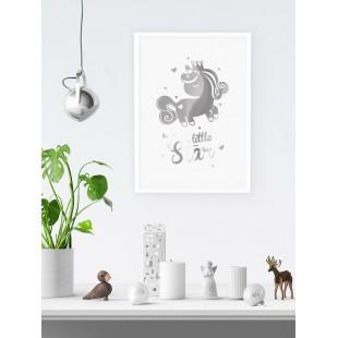 Strieborný lesklý plagát Unicorn