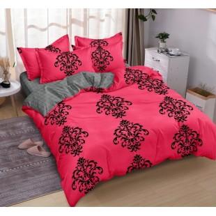 Ružovo-sivá obojstranná posteľná obliečka z mikrovlákna so vzorom