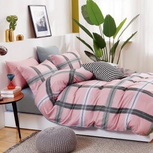Ružovo-sivá pásikavá obojstranná posteľná obliečka zo saténovej bavlny