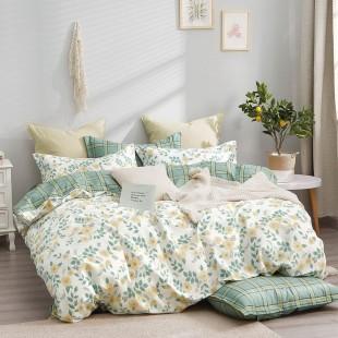 Krémovo-zelená obojstranná posteľná obliečka zo saténovej bavlny