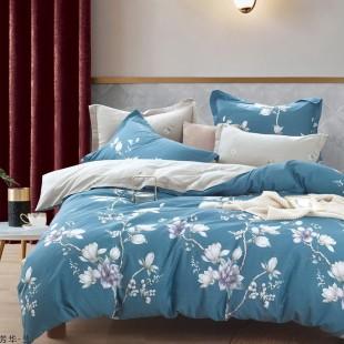 Modro-sivá obojstranná posteľná obliečka zo saténovej bavlny