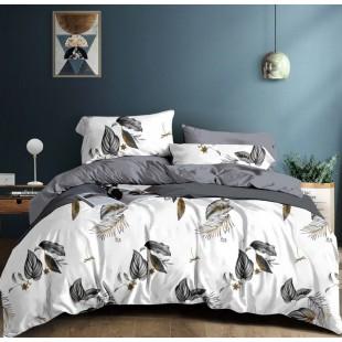 Bielo-sivá obojstranná posteľná obliečka z mikrovlákna