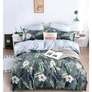 Tmavosivá obojstranná posteľná obliečka z mikrovlákna s kvetinovým motívom