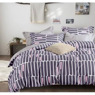 Sivo-pásikavá obojstranná posteľná obliečka z mikrovlákna