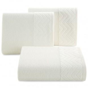 Krémový kúpeľňový  bavlnený ručník s cik-cak ozdobným pásom
