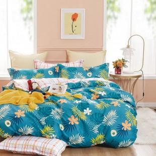 Tyrkysová obojstranná posteľná obliečka zo saténovej bavlny