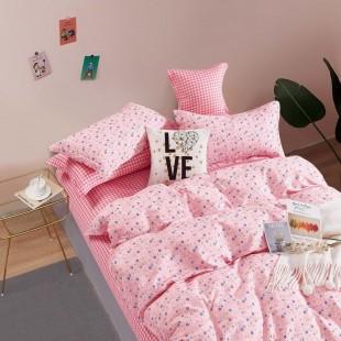 Ružová obojstranná posteľná obliečka zo saténovej bavlny