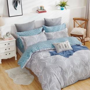 Sivo-modrá obojstranná posteľná obliečka zo saténovej bavlny so vzorom