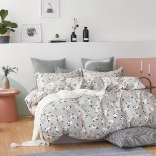 Sivá obojstranná posteľná obliečka zo saténovej bavlny s kvetinovým motívom