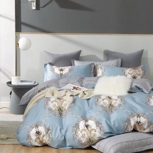 Modro-sivá obojstranná posteľná obliečka zo saténovej bavlny so vzorom