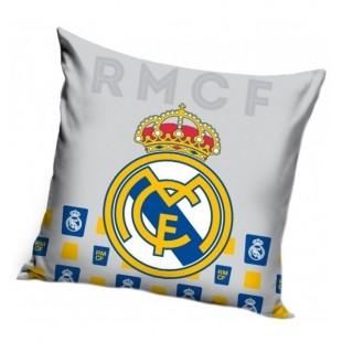 Sivá obliečka na vankúš s logom futbalového klubu Real Madrid