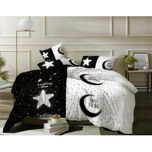 Čierno-biela posteľná obliečka z mikrovlákna Sweet dreams