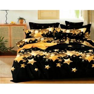 Čierna posteľná obliečka z mikrovlákna s hviezdičkami