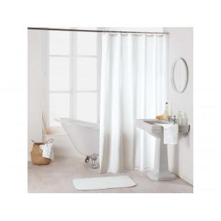 Biely kúpeľňový záves na háčiky