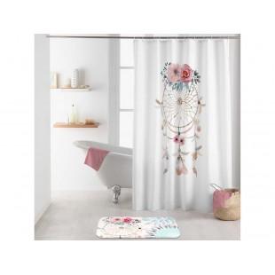 Biely kúpeľňový záves s lapačom snov na háčiky