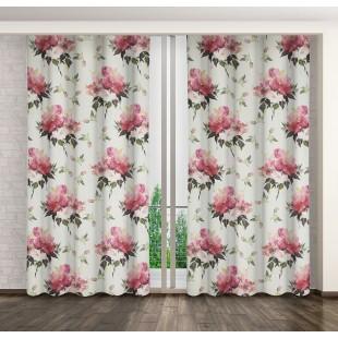Krémovo-ružový zatemňujúci záves s kvetinovým motívom