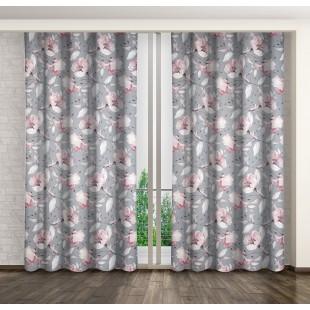 Sivo-ružový zatemňujúci záves s kvetinovým motívom
