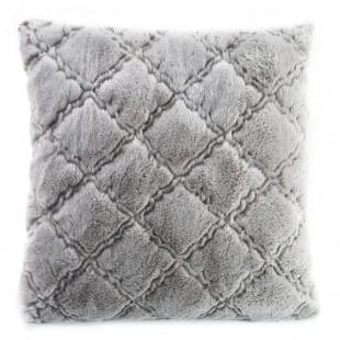 Sivá mäkká obliečka na dekoračný vankúšik so vzorom