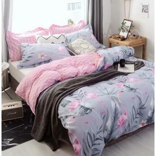 Ružovo-sivá vzorovaná posteľná obliečka z mikrovlákna