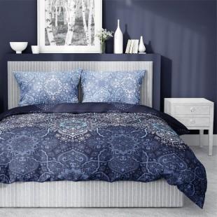 Modrá posteľná obliečka zo saténovej bavlny s krásnym vzorom