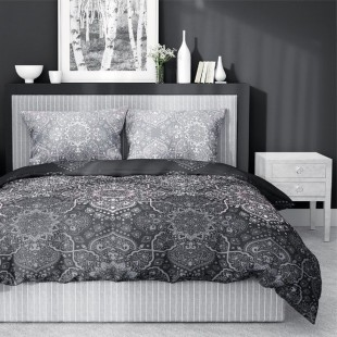 Sivá posteľná obliečka zo saténovej bavlny s krásnym vzorom