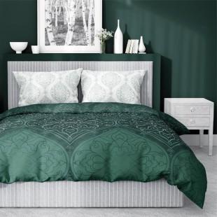 Zelená posteľná obliečka zo saténovej bavlny s krásnym vzorom